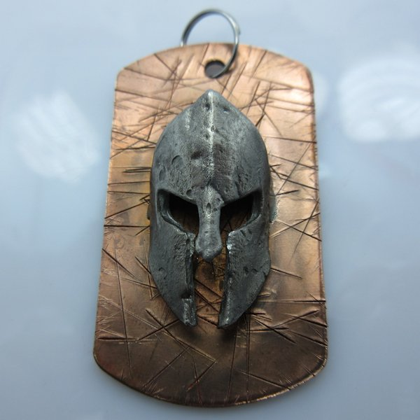 Spartan Helmet Dog Tag in Copper/Pewter by Marco Magallona